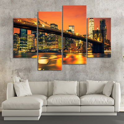 brooklyn bridge at night wall art set of 4