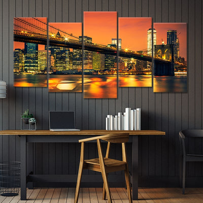 brooklyn bridge at night 5 piece wall art