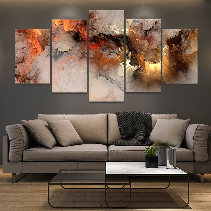abstract clouds 5 piece canvas art