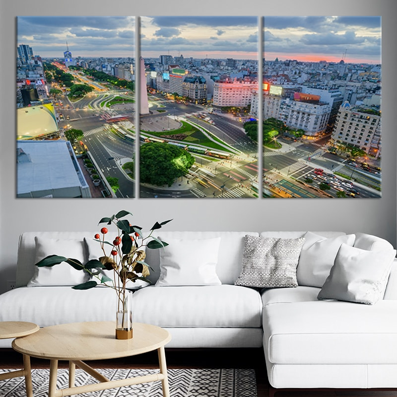 Buenos Aires Argentiina Skyline Multi Panel Canvas Wall Art