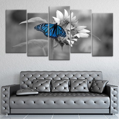 Butterfly On Sunflower Canvas Wall Art