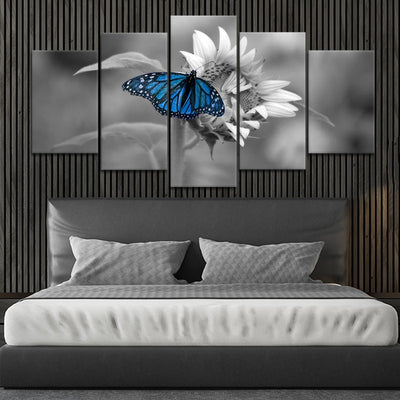 Butterfly On Sunflower Multi Panel Canvas Wall Art