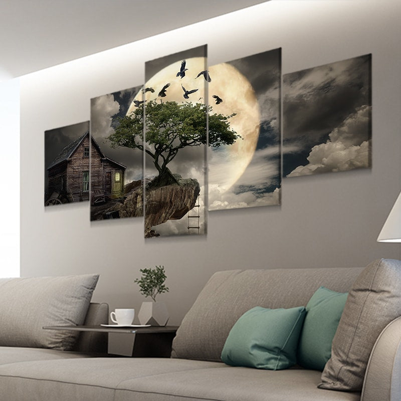 Cabin On The Cliff with full moon canvas wall art