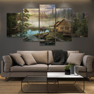 Cabin on the Lake canvas wall art