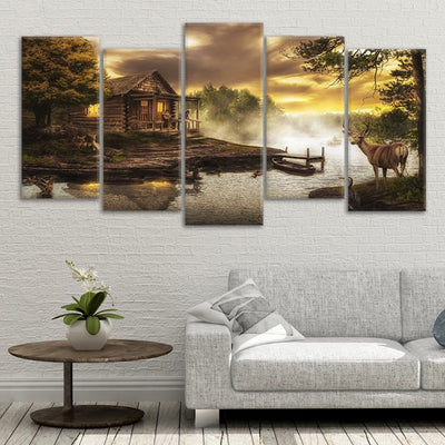 cabin on the lake canvas prints online
