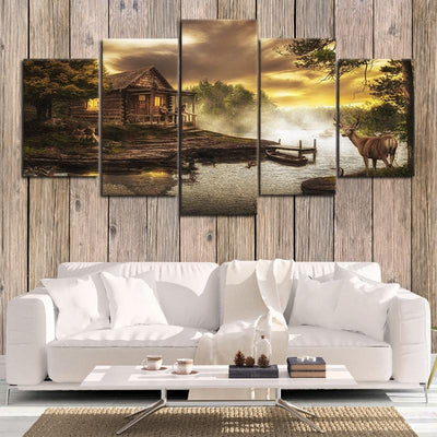 cabin on the lake wall canvas