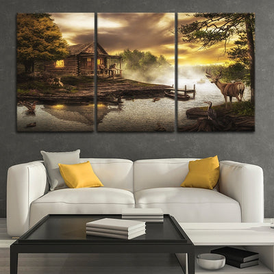 cabin on the lake canvas wall art sets
