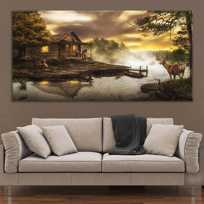 cabin on the lake cheap canvas wall art