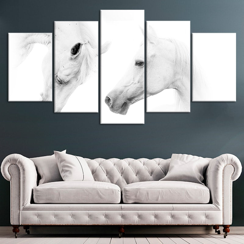Two White Horses Multi Panel Canvas Wall Art