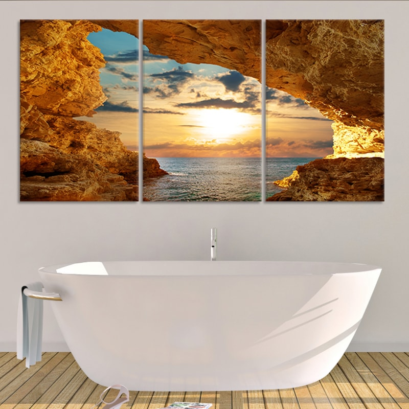 Sunset Cave Multi Panel Canvas Wall Art