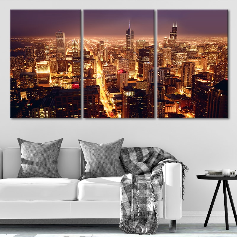Chicago Skyline At Night Canvas Wall Art