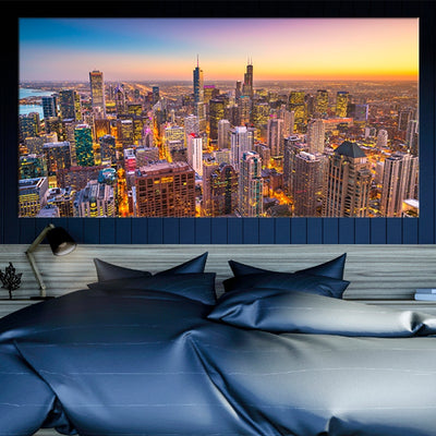 Chicago Skyline at Sunset canvas wall art large