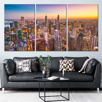 Chicago Skyline at Sunset 3 piece wall art