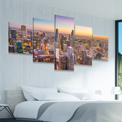 Chicago Skyline at Sunset 5 piece canvas art