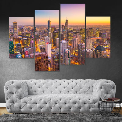 Chicago Skyline at Sunset wall art set of 4