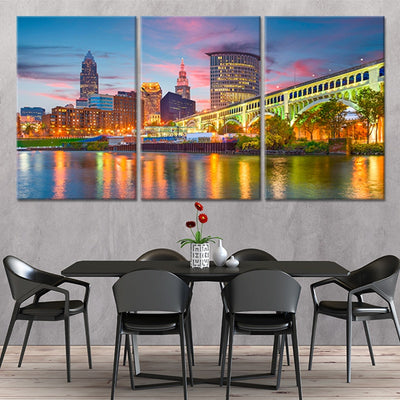 Cleveland Skyline 3 piece wall art