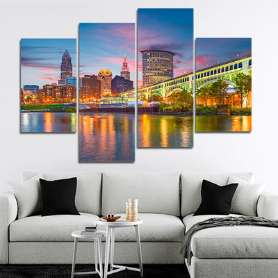Cleveland Skyline wall art set of 4