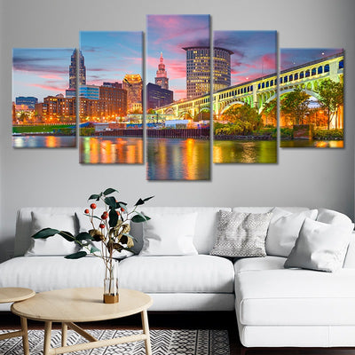 Cleveland Skyline 5 piece canvas art
