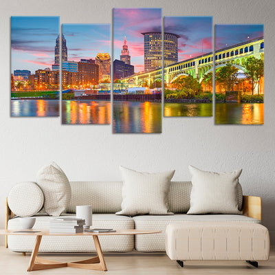 Cleveland Skyline 5 piece wall art