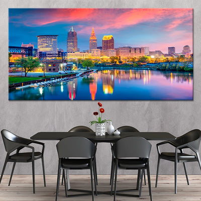 Cleveland Skyline At Sunset canvas wall art large