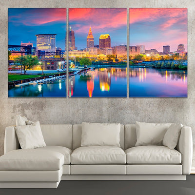 Cleveland Skyline At Sunset 3 piece wall art
