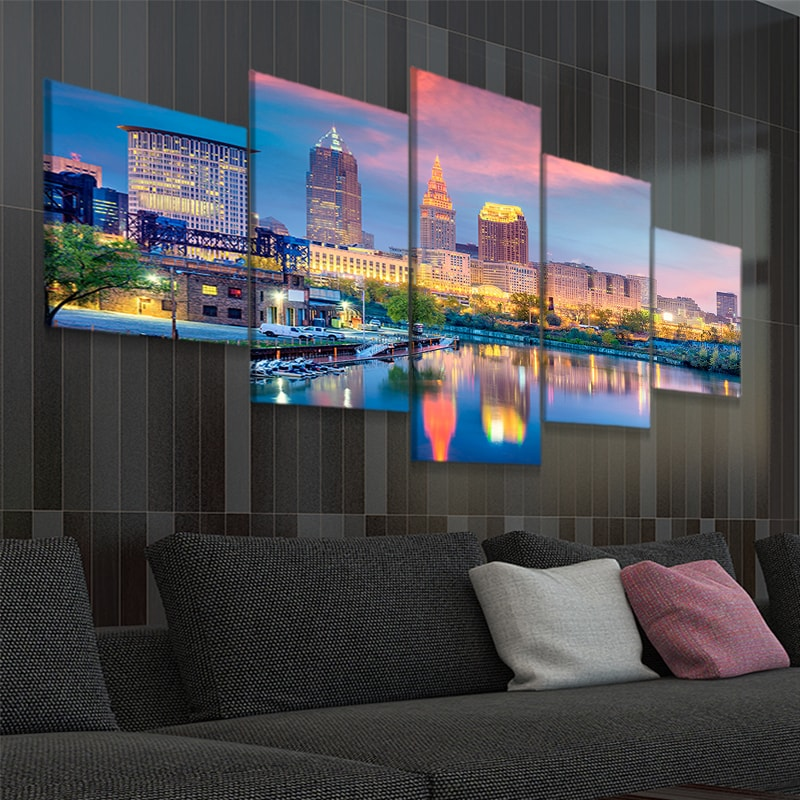 Cleveland Skyline At Sunset 5 piece canvas art