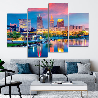 Cleveland Skyline At Sunset wall art set of 4