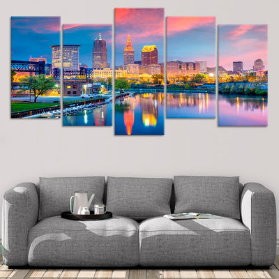 Cleveland Skyline At Sunset 5 piece wall art