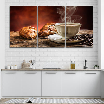 Coffee & Croissant 3 piece wall art