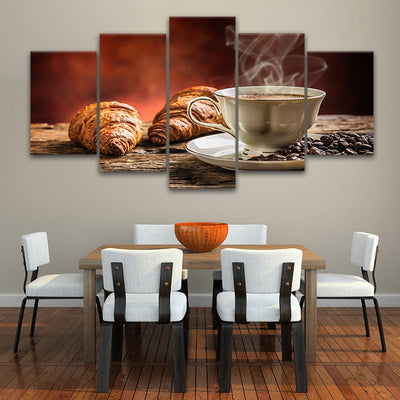Coffee & Croissant 5 piece canvas art
