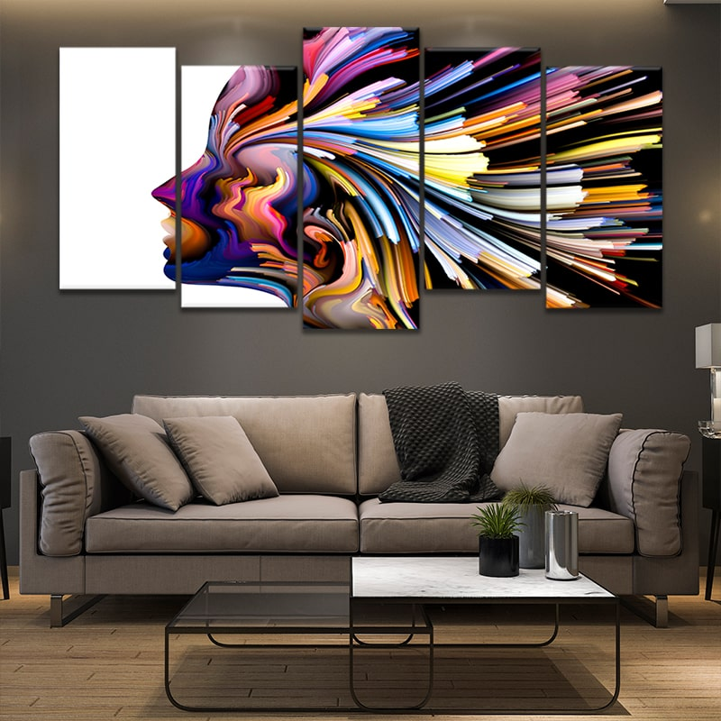 Colorful Abstract Face 3 Panel Canvas Print