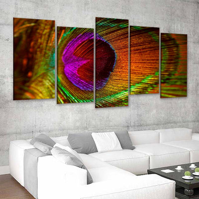Colorful Feather Canvas Wall Art Set