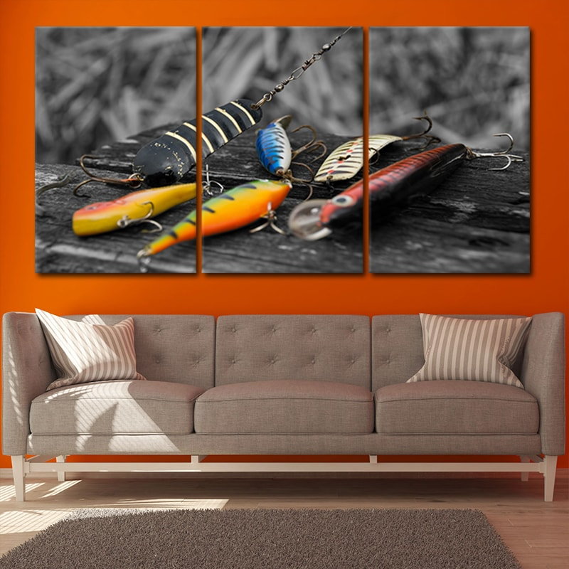 Colorful Fishing Hooks wall canvas