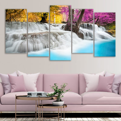 Colorful Waterfall Multi Panel Canvas Wall Art