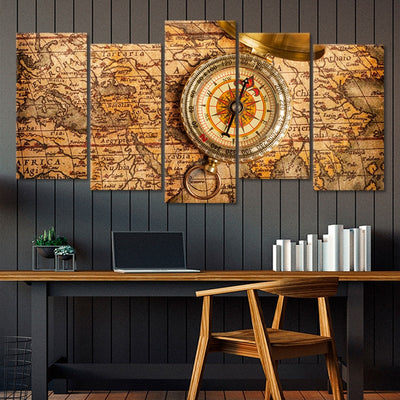 World Map With Compass Multi Panel Canvas Wall Art
