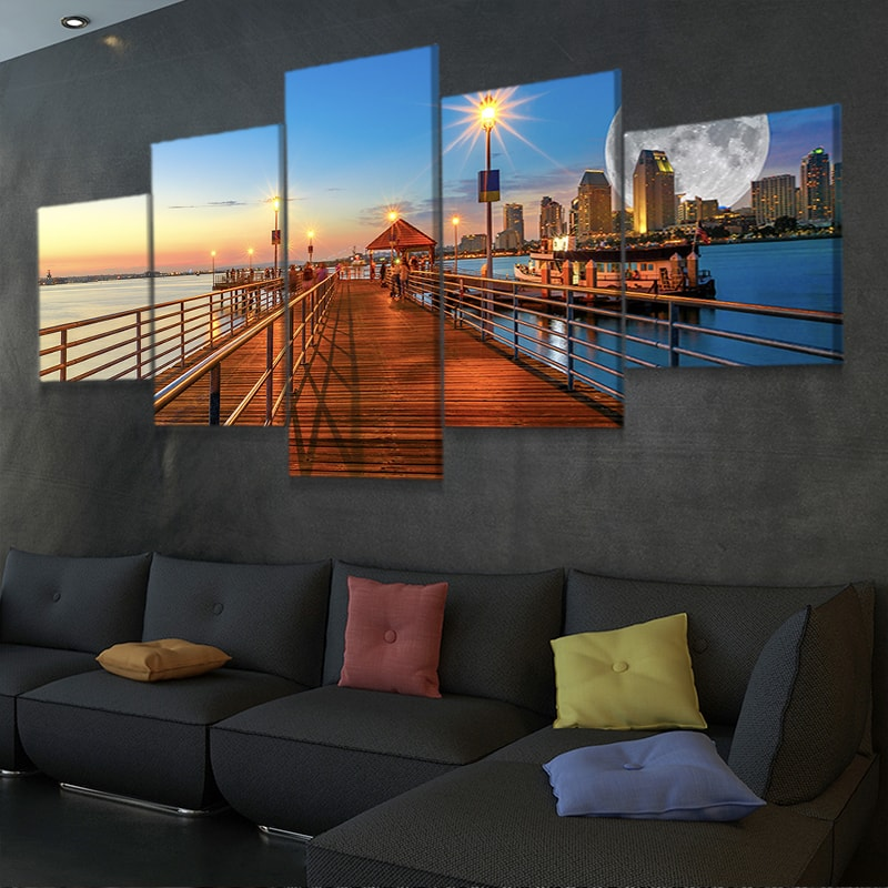 Coronado Pier with Full Moon Canvas Wall Art