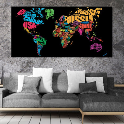 country names on world map canvas wall art large