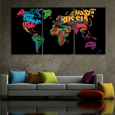 country names on world map 3 piece wall art