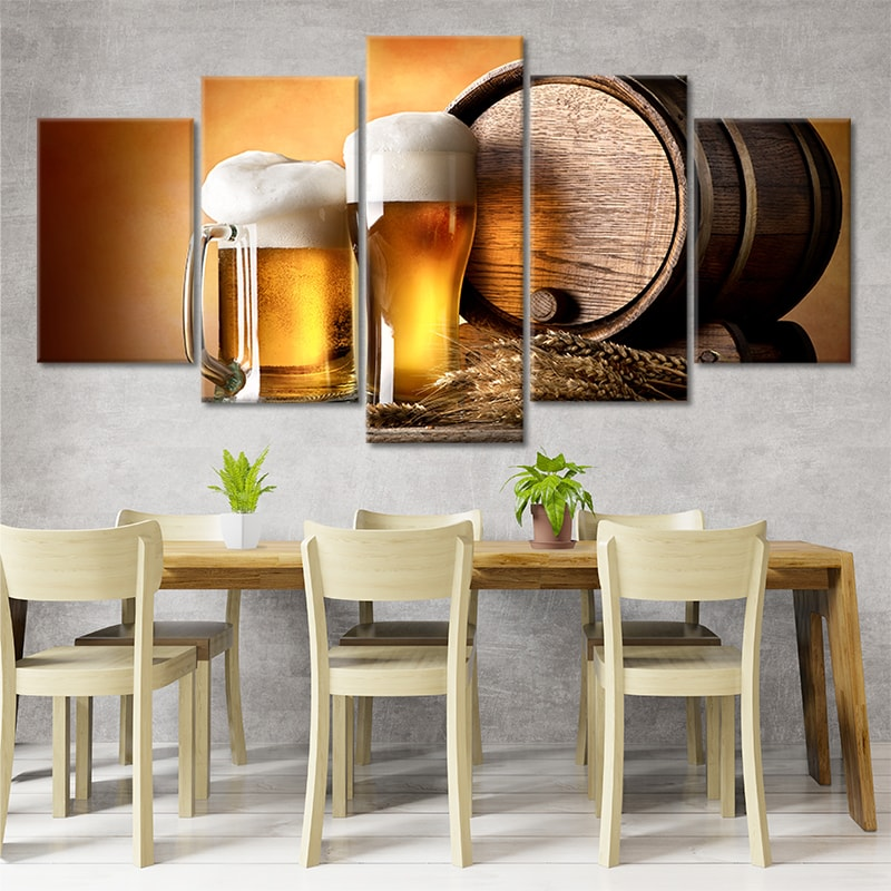 craft beer and brewing 5 piece canvas art