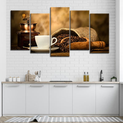Coffee with grinder Multi Panel Canvas Wall Art