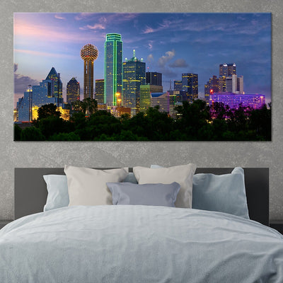 Dallas Skyline Lights 1 Piece Canvas Wall Art