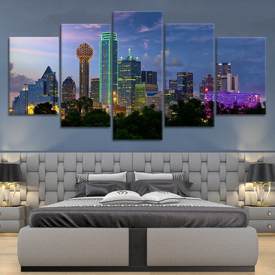 Dallas Skyline Lights Multi Panel Canvas Wall Art