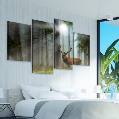 Deer In The Forest Multi Panel Canvas Wall Art