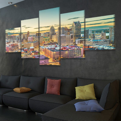 Detroit Skyline Multi Panel Canvas Wall Art