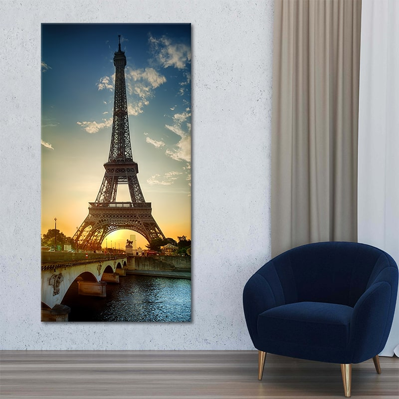 Eiffel Tower sunset Canvas Wall Art