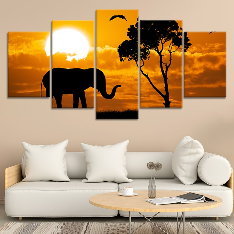 Elephant Sunset Canvas Wall Art