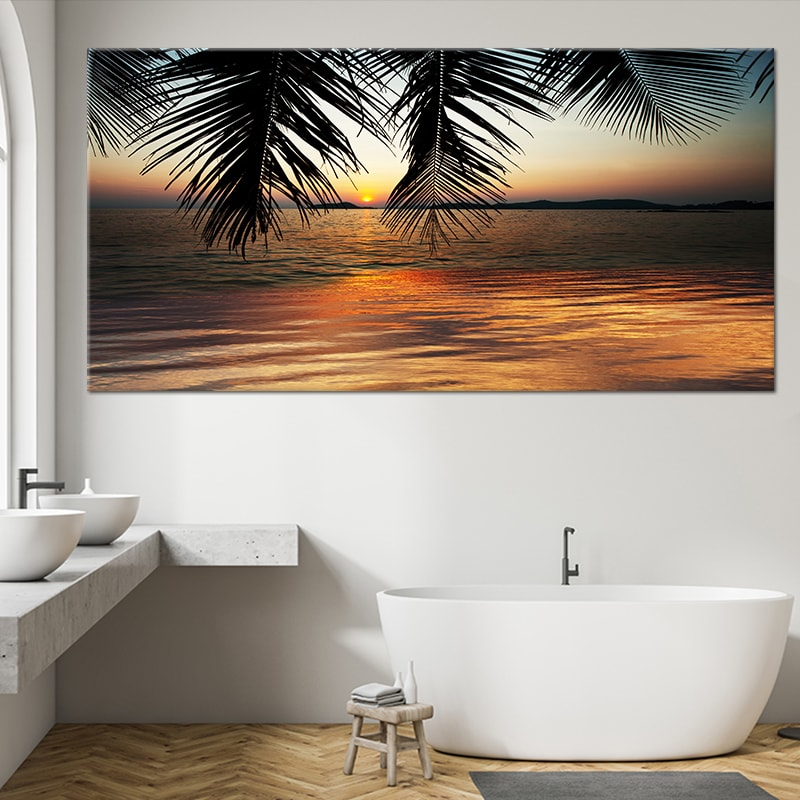 Exotic Tropical Beach At Sunset Canvas Wall Art