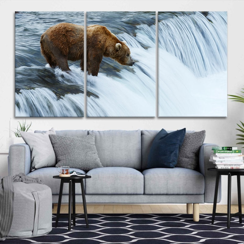 Grizzly bear fish at Brooks Falls in Katmai National Park canvas wall art