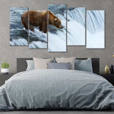 Grizzly bear fish at Brooks Falls in Katmai National Park large wall art