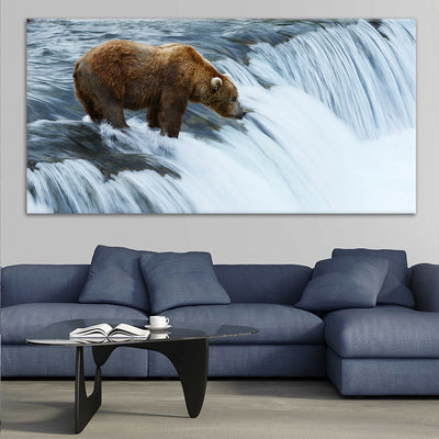 Grizzly bear fish at Brooks Falls in Katmai National Park large canvas art for living room